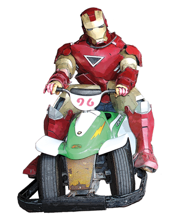 iron man on go kart