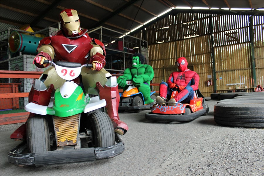 Superheroes on go karts