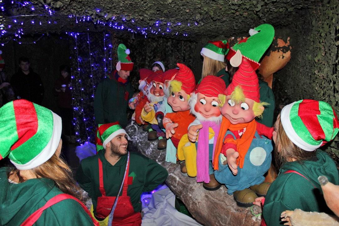 Elves in a row having fun