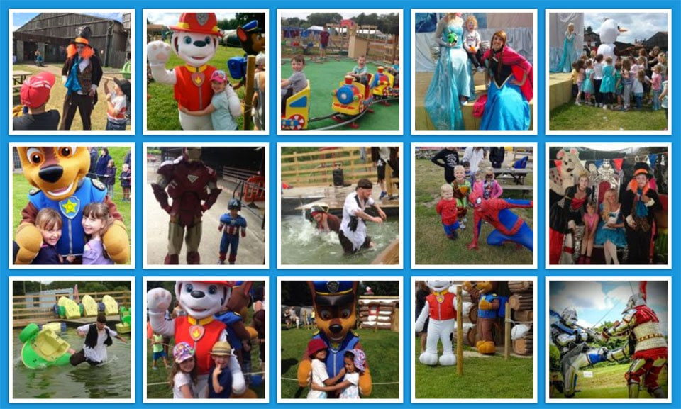 Gallery images of the farm and adventure play areas