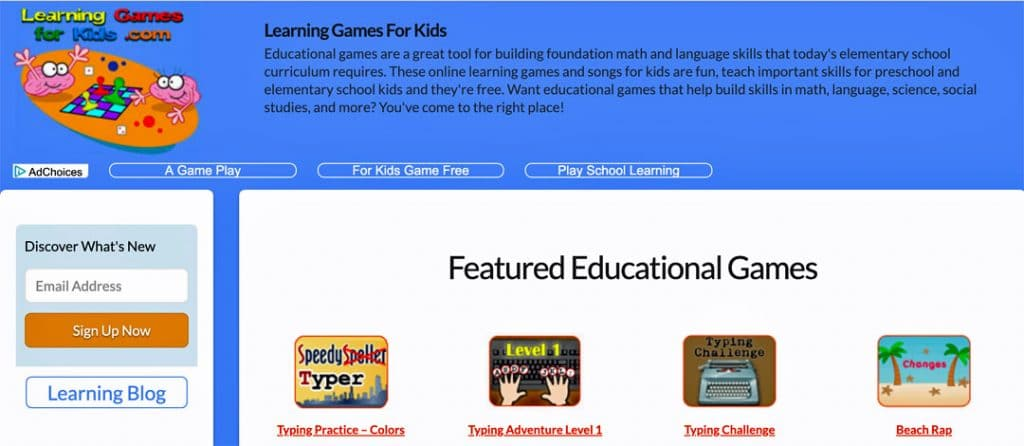 Learning-Games-for-Kids website